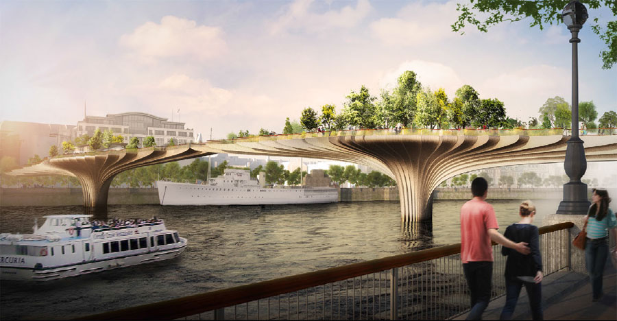 Projeto de ponte ecológica em Londres, Garden Bridge, que cruza o rio Tâmisa