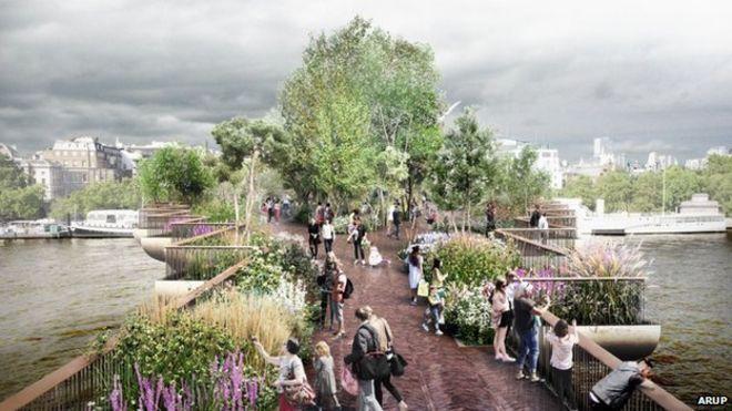 Projeto da passarela visa cortar o rio Tâmisa