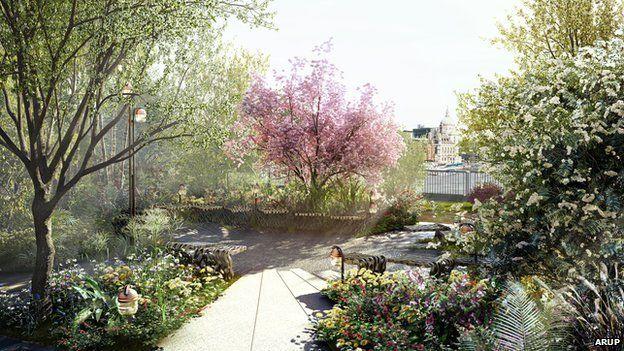 Garden Bridge: rojeto conta com mais de 270 árvores e 100 mil mudas de plantas